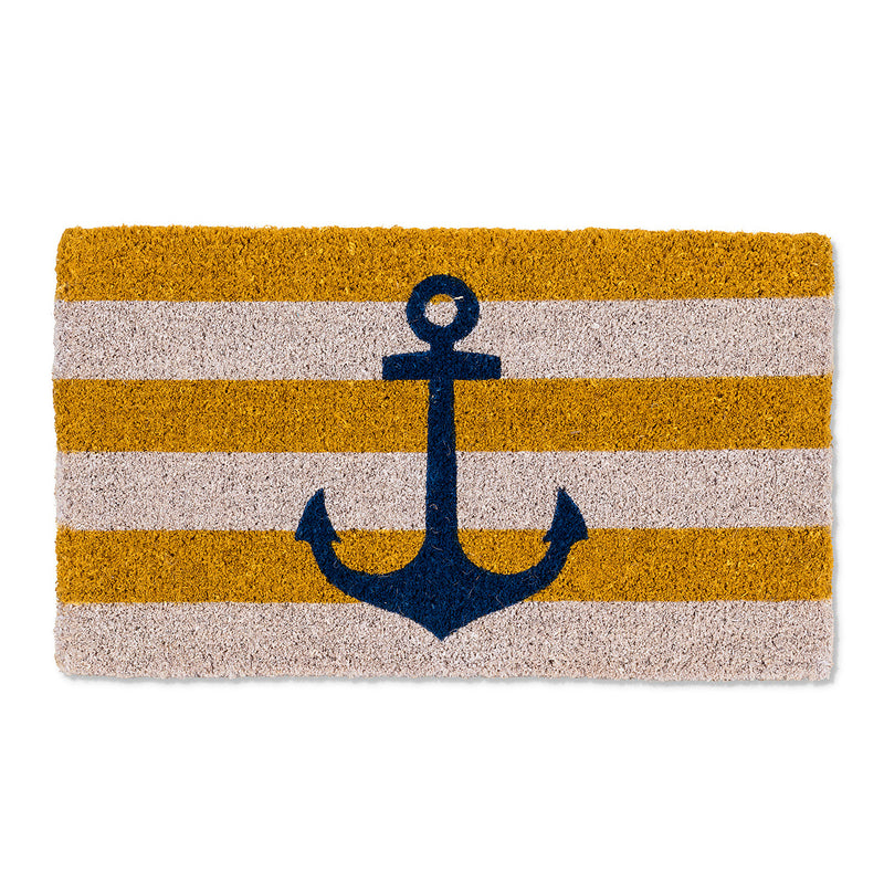 Yellow Stripe Anchor Doormat, AC-Abbott Collection, Putti Fine Furnishings
