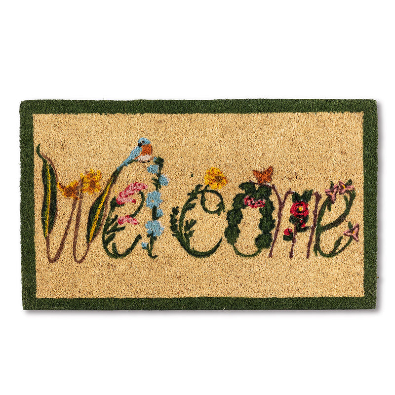 "Garden Flowers ""Welcome"" Doormat Putti Fine Furnishings Toronto Canada"
