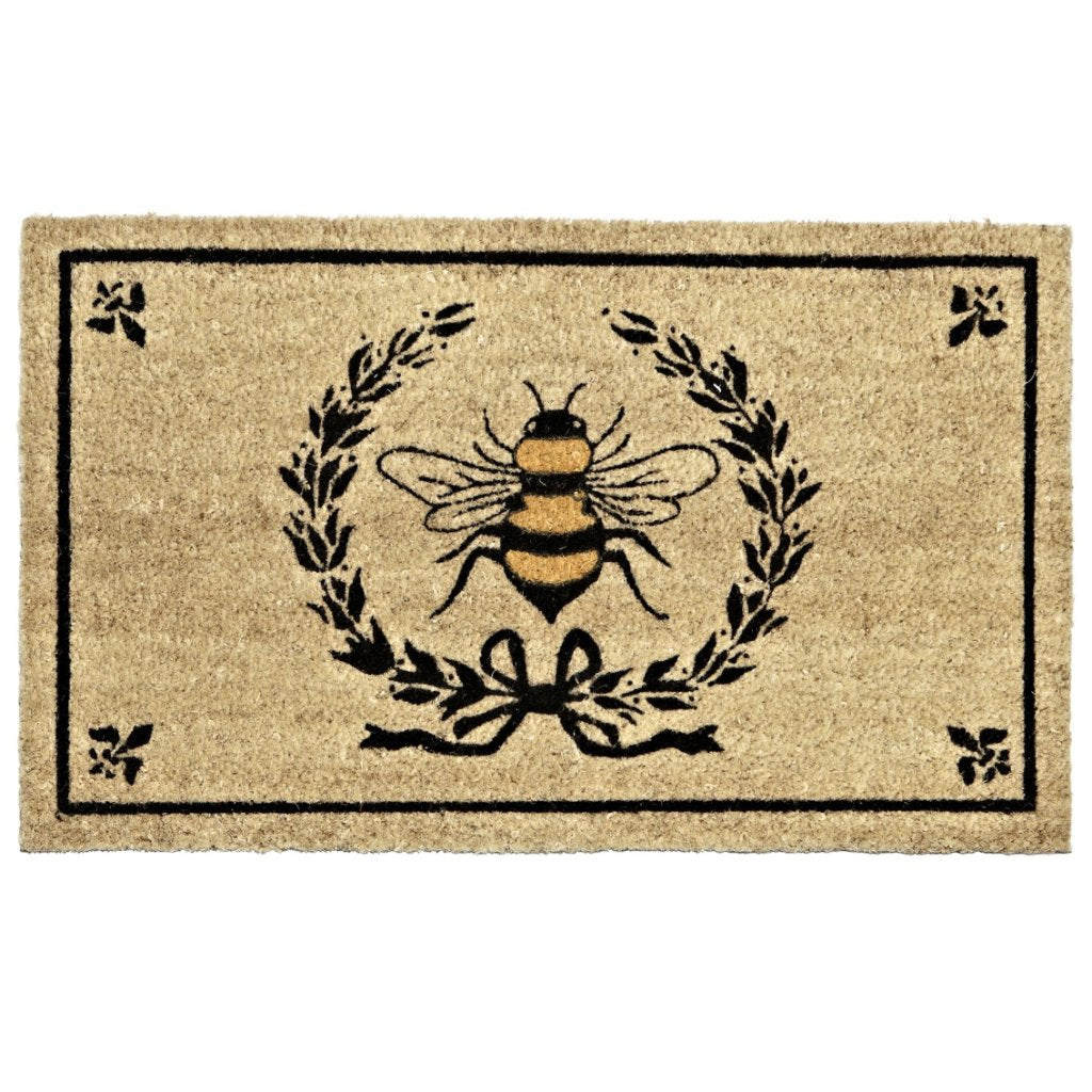 Bee in Crest Doormat, AC-Abbott Collection, Putti Fine Furnishings