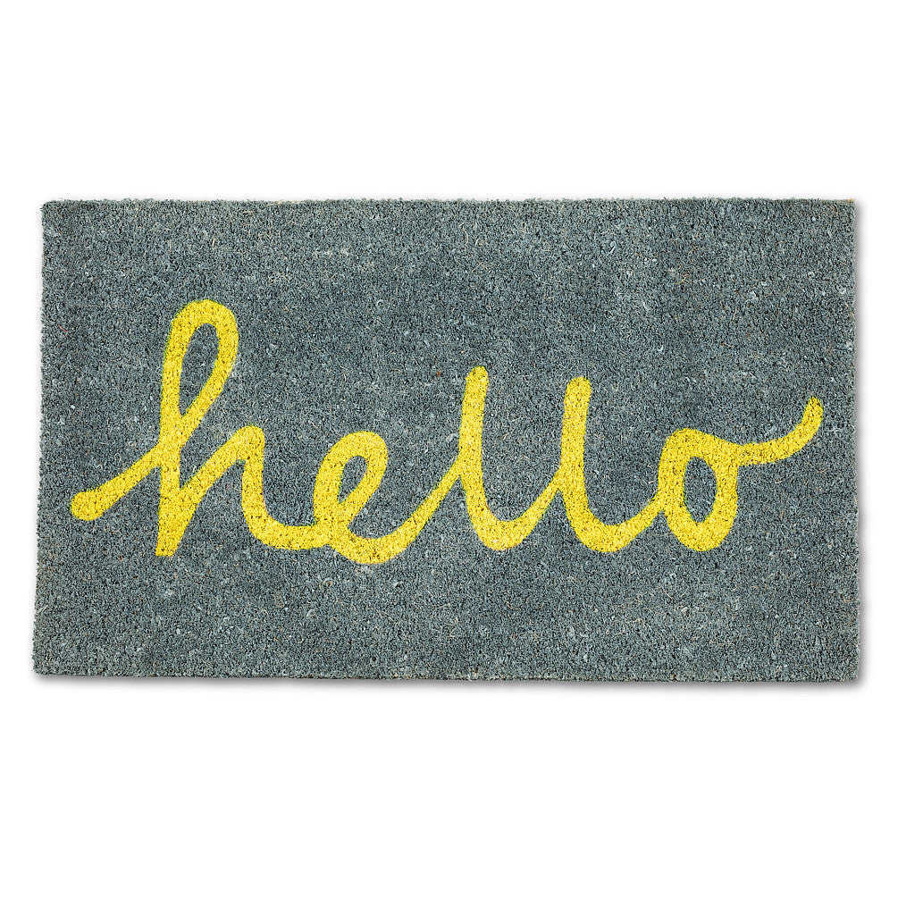 Hello Doormat - Yellow, AC-Abbott Collection, Putti Fine Furnishings