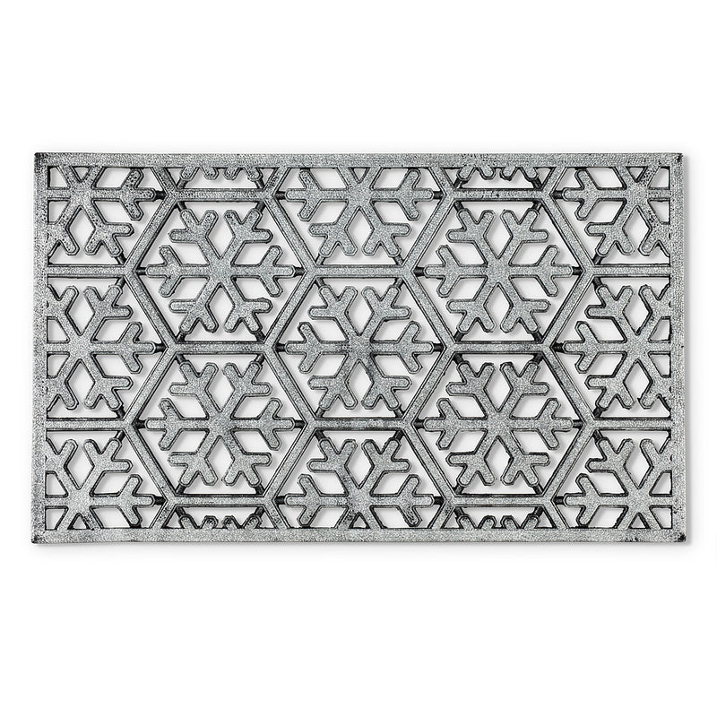 Silver Glitter Snowflake Rubber Doormat, AC-Abbott Collection, Putti Fine Furnishings