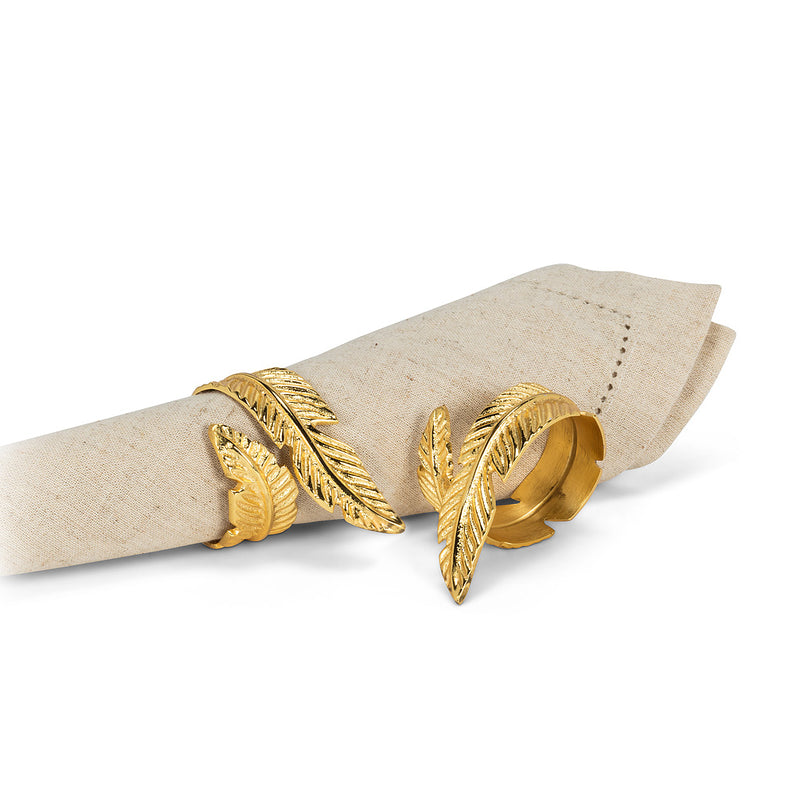 Gold Feather Napkin Ring - Putti Fine Furnishings Canada