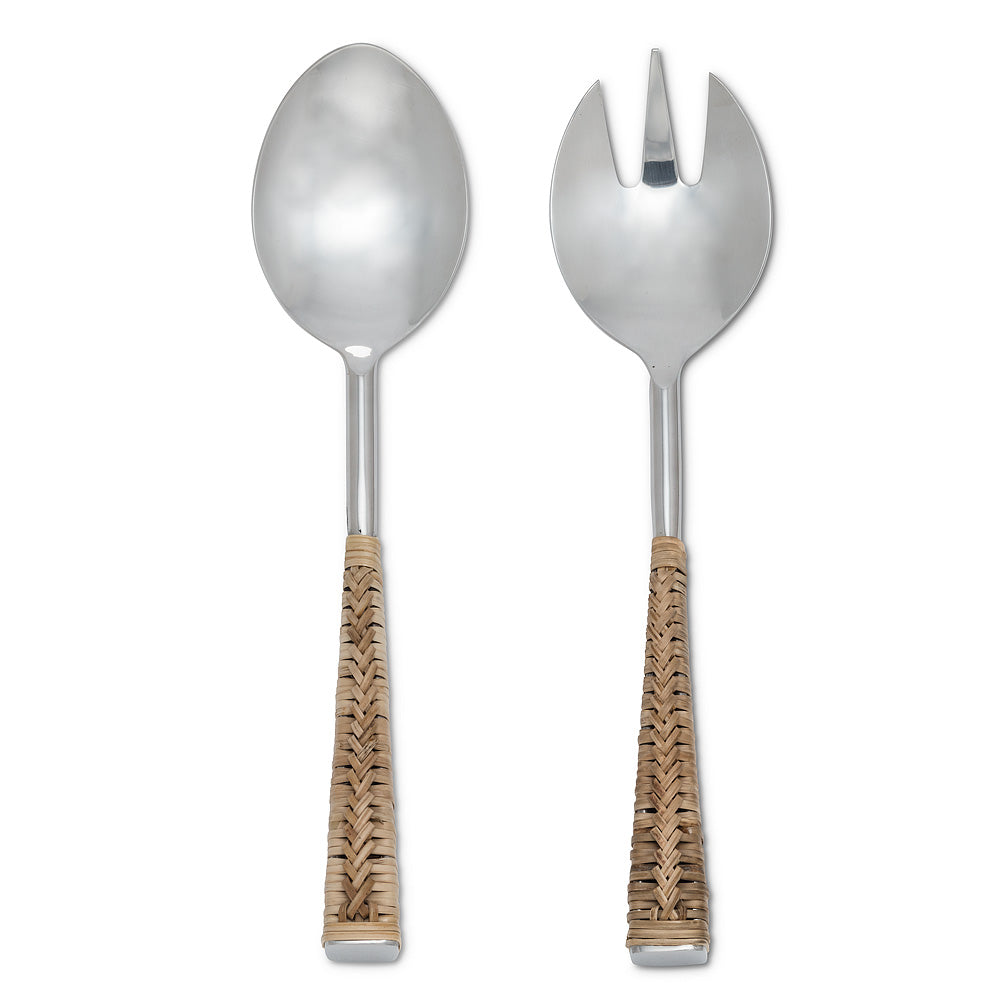 Rattan Handle Salad Servers - Pair