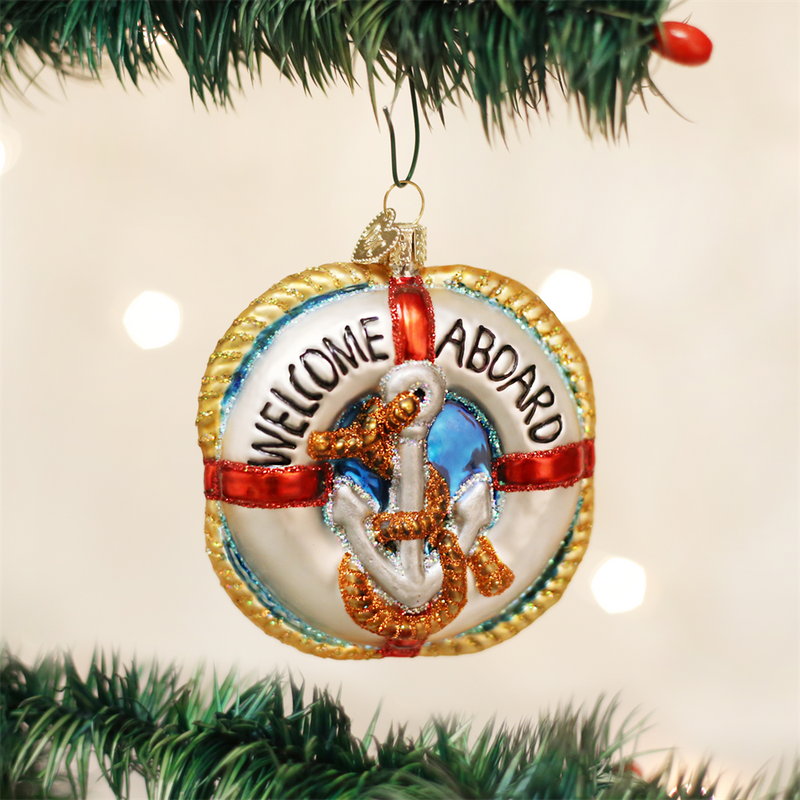 Old Word Christmas Life Preserver Glass Ornament
