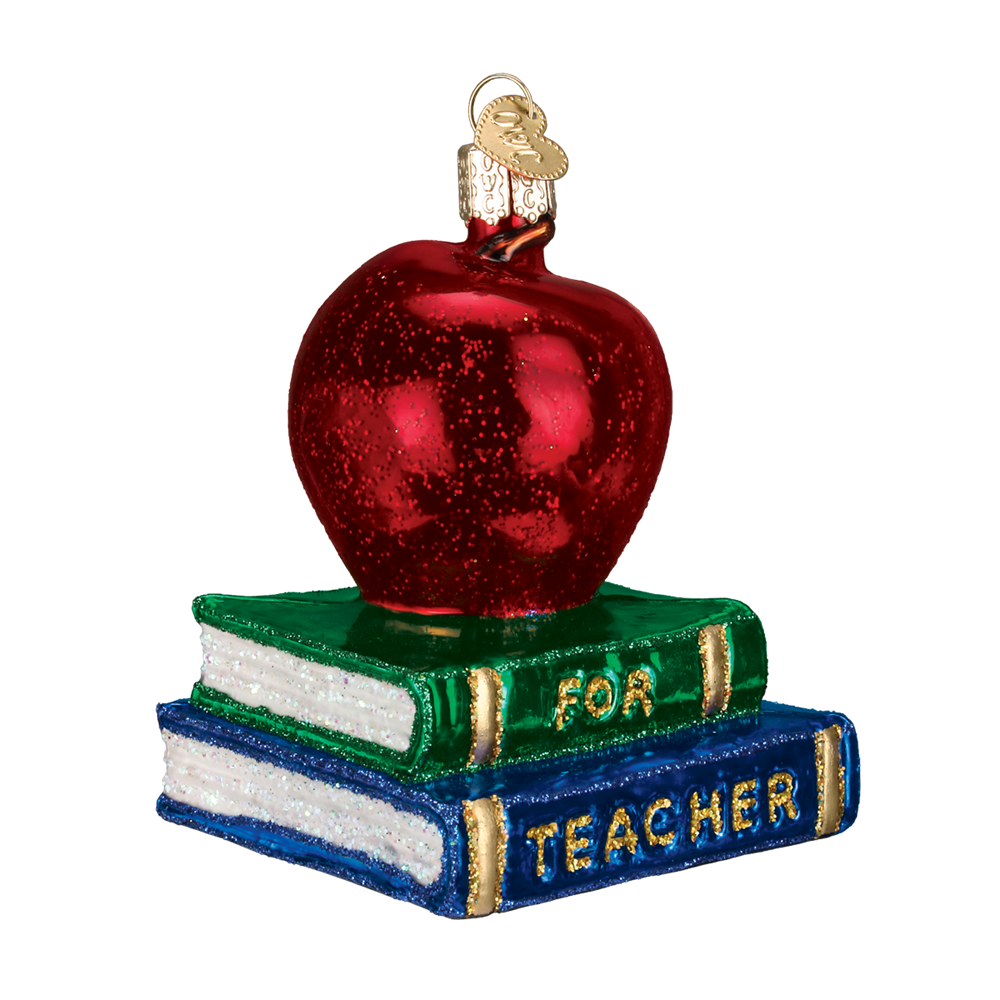 Old World Christmas Teacher's Apple Glass Christmas Ornament -  Christmas Decorations - Old World Christmas - Putti Fine Furnishings Toronto Canada - 1