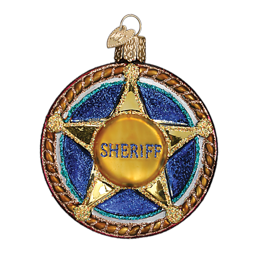 Old World Christmas Sheriff Badge Glass Ornament, OWC-Old World Christmas, Putti Fine Furnishings