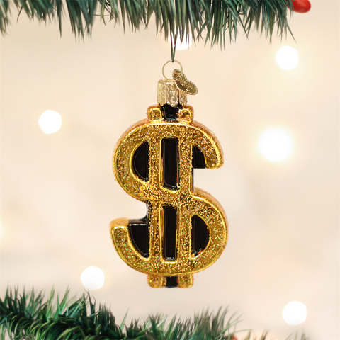 Old World Christmas Dollar Sign Glass Ornament -  Christmas Decorations - Old World Christmas - Putti Fine Furnishings Toronto Canada - 1