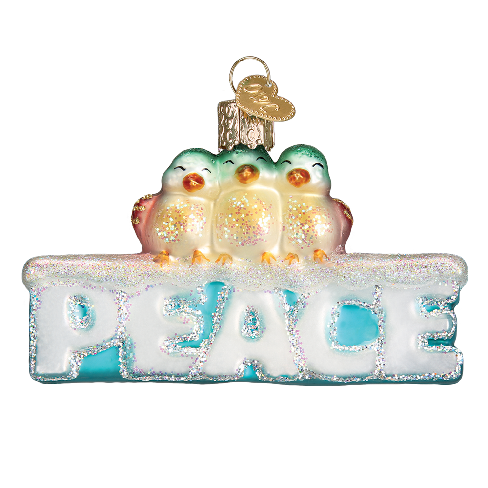 Old Word Christmas Peace Glass Ornament