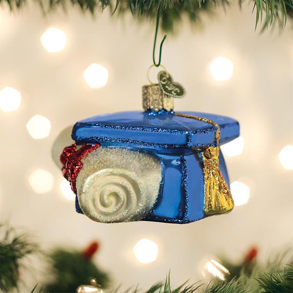 Old World Christmas Graduation Cap Glass Ornament | Putti Christmas Canada