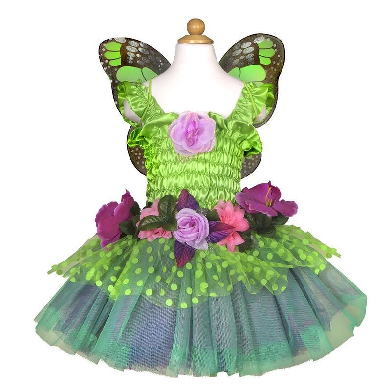 Fairy Blooms Dress Green with Wings | Le Petite Putti