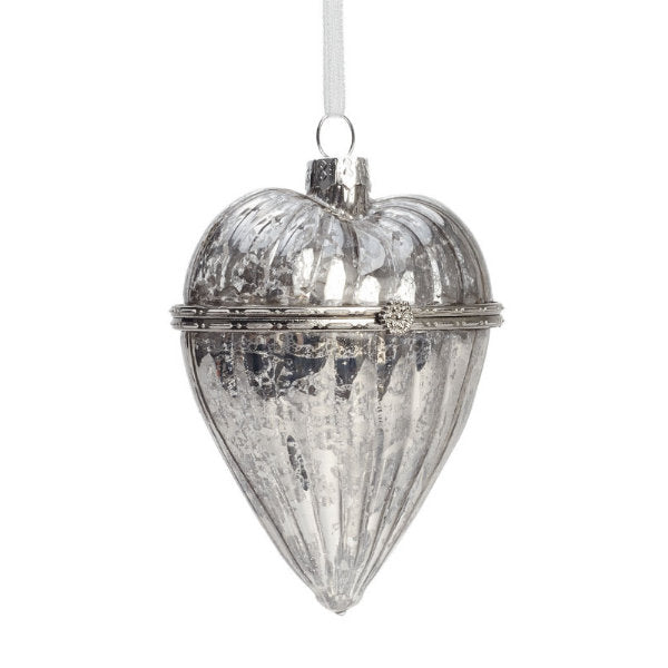 Silver Mercury Glass Heart Box Ornament