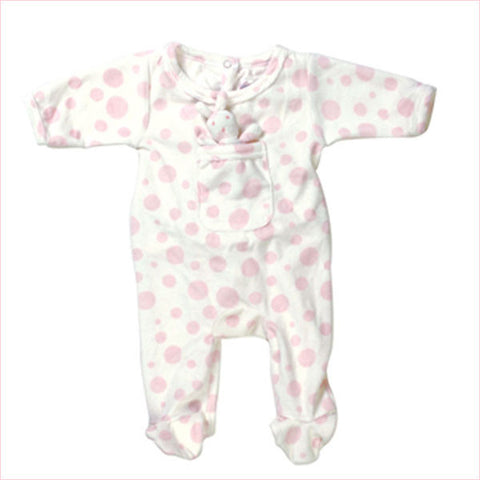 Pink Dot Rabbit Sleeper -  Onzies - Empress Arts - Putti Fine Furnishings Toronto Canada