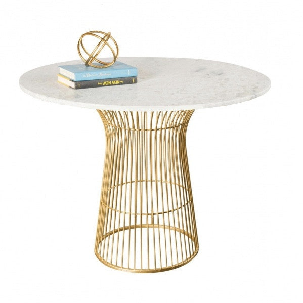 Round White Marble Top Table with Gold Base