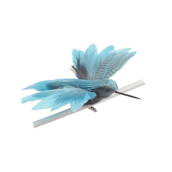 Aqua Blue Feather Hummingbird with Clip
