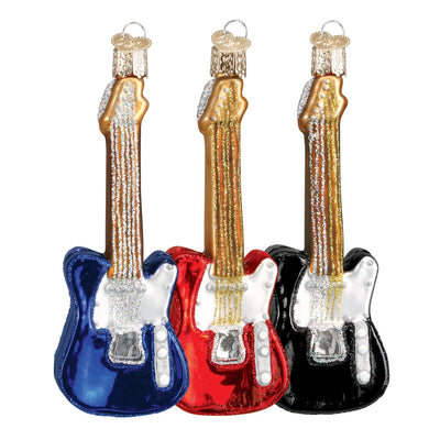 Old Word Christmas Electric Guitar Ornament