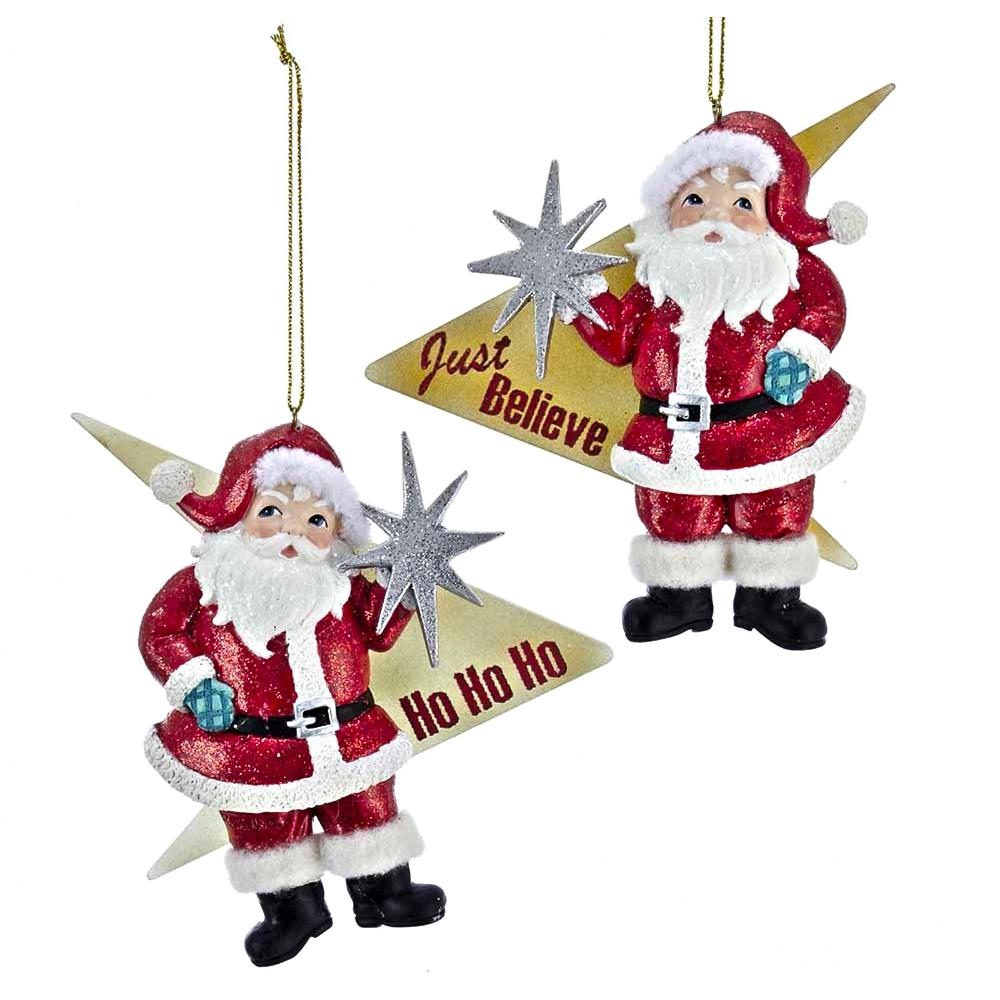 Kurt Adler Mid-Century Santa With Starburst Ornaments, 2 Assorted