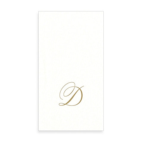 Gold Monogram Paper Guest Towel - Letter D, CI-Caspari, Putti Fine Furnishings