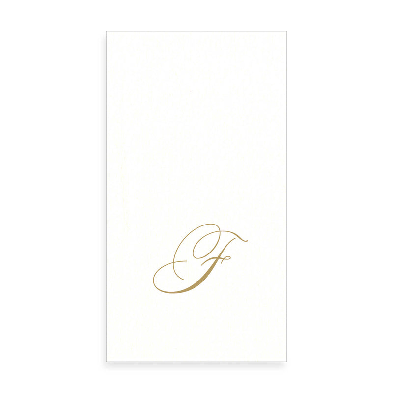 Gold Monogram Paper Guest Towel - Letter F, CI-Caspari, Putti Fine Furnishings