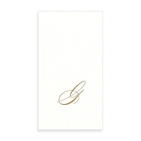 Gold Monogram Paper Guest Towel - Letter G, CI-Caspari, Putti Fine Furnishings