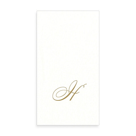 Gold Monogram Paper Guest Towel - Letter H, CI-Caspari, Putti Fine Furnishings