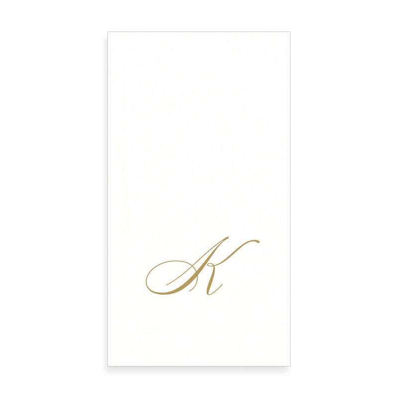 Gold Monogram Paper Guest Towel - Letter K, CI-Caspari, Putti Fine Furnishings