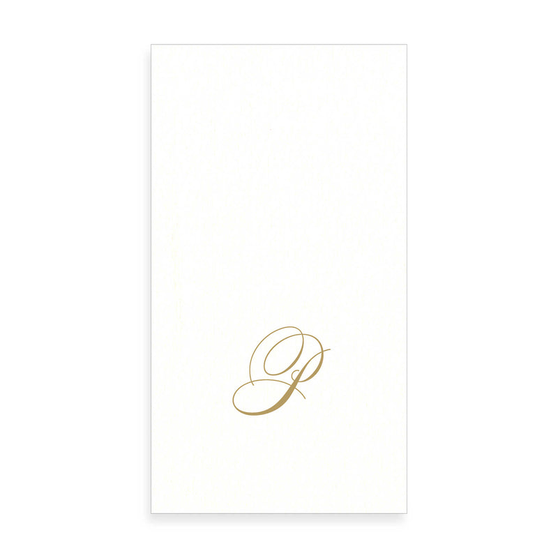 Gold Monogram Paper Guest Towel - Letter P, CI-Caspari, Putti Fine Furnishings