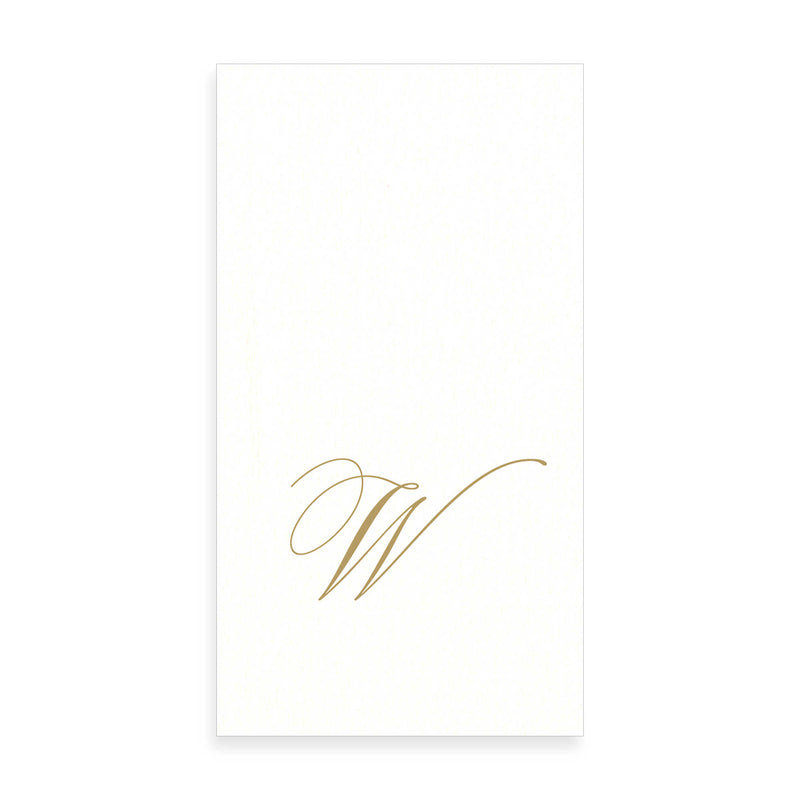 Gold Monogram Paper Guest Towel - Letter W, CI-Caspari, Putti Fine Furnishings