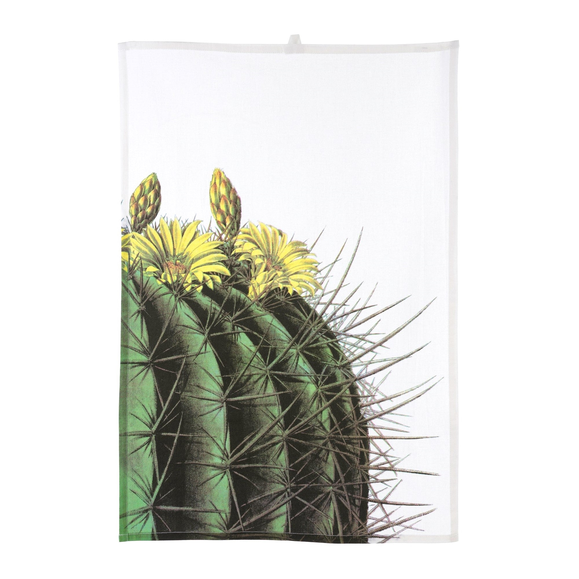 Cacti Tea Towel - Yellow - Putti Fine Furnishings Canada