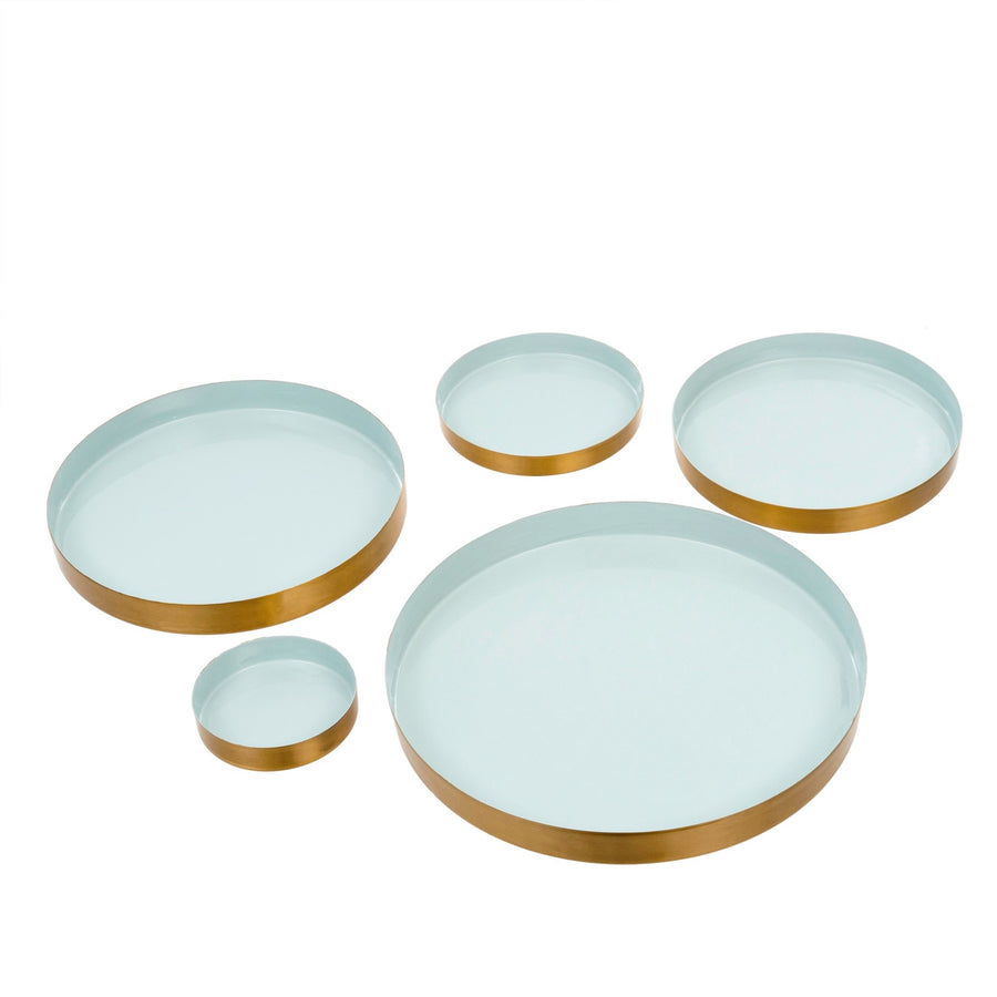 Reverie Enamel Trays Set of 5 Pale Blue  Putti Fine Furnishings Canada