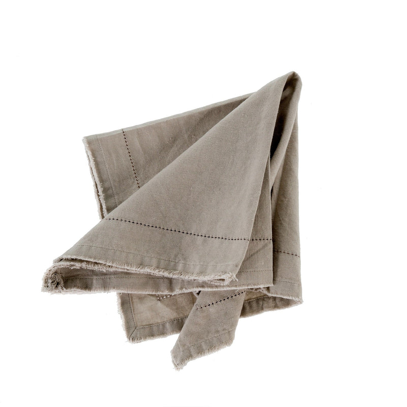 Frayed Edge Napkin - Light Grey