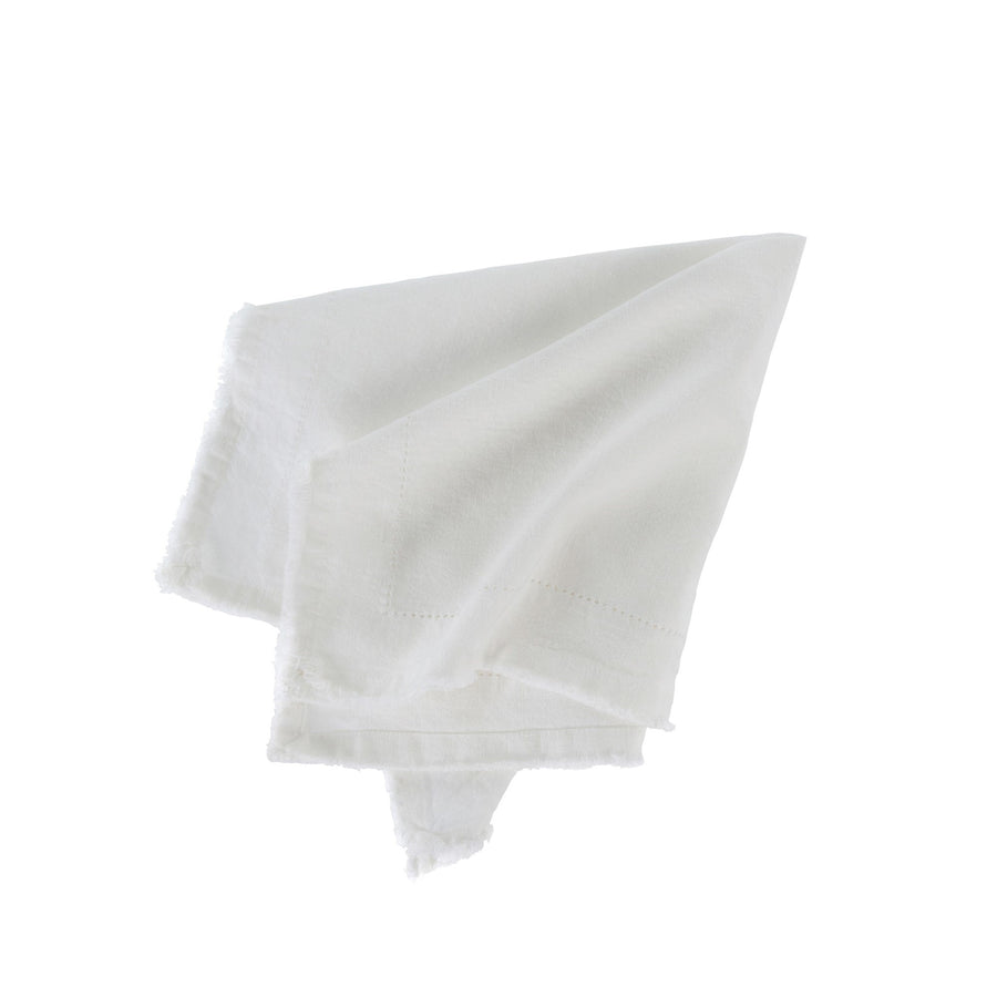 Frayed Edge Napkin - White