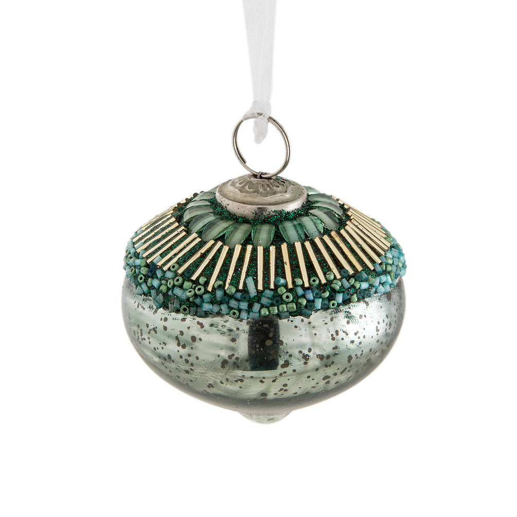 Small Beaded Acorn Christmas Ornament - Aqua  | Putti Christmas