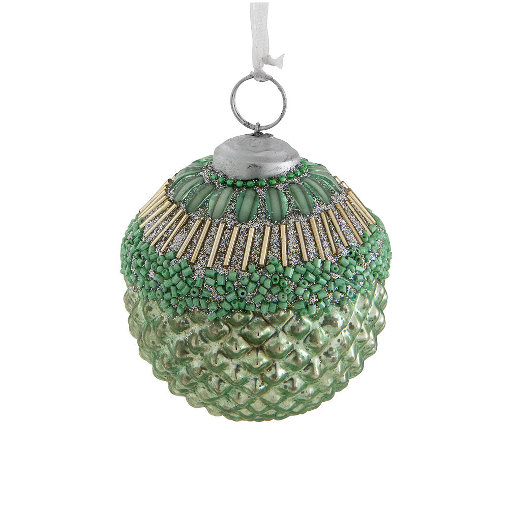 Beaded Ball Christmas Ornament - Mint Green