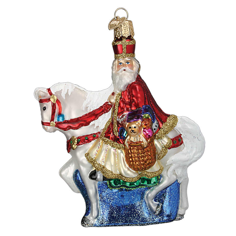 Old World Christmas St Nick on Horse Glass Ornament