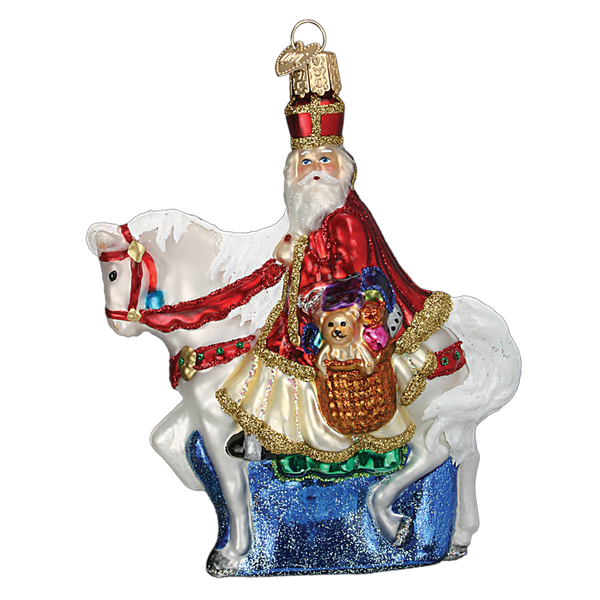 Old World Christmas St Nick on Horse Glass Ornament, OWC-Old World Christmas, Putti Fine Furnishings