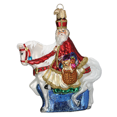 Old World Christmas St Nick on Horse Glass Ornament-Christmas-OWC-Old World Christmas-Putti Fine Furnishings