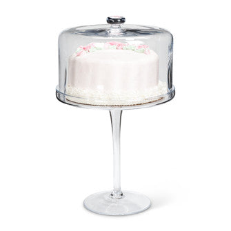 Tall Glass Pedestal Cake Stand with Cover