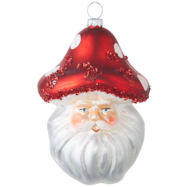 Mushroom Santa Head Glass Ornament