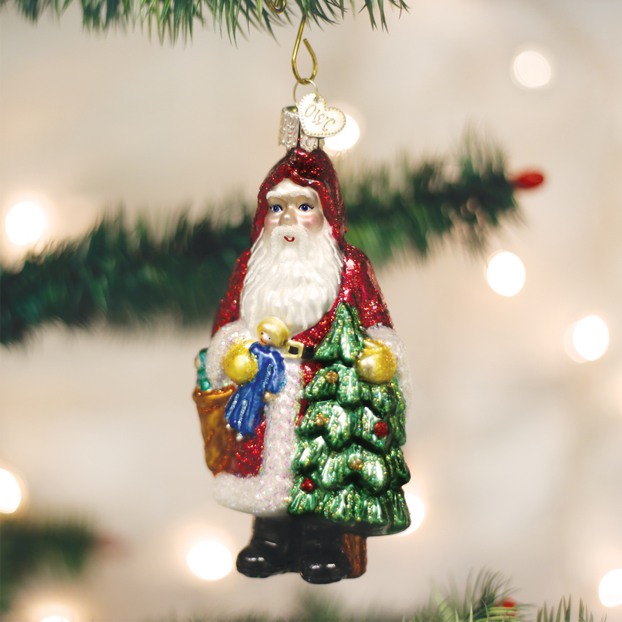 Old World Christmas Woodland Father Christmas Glass Ornament
