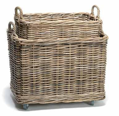 Grey Wash Rectangular Basket on Wheels S/2
