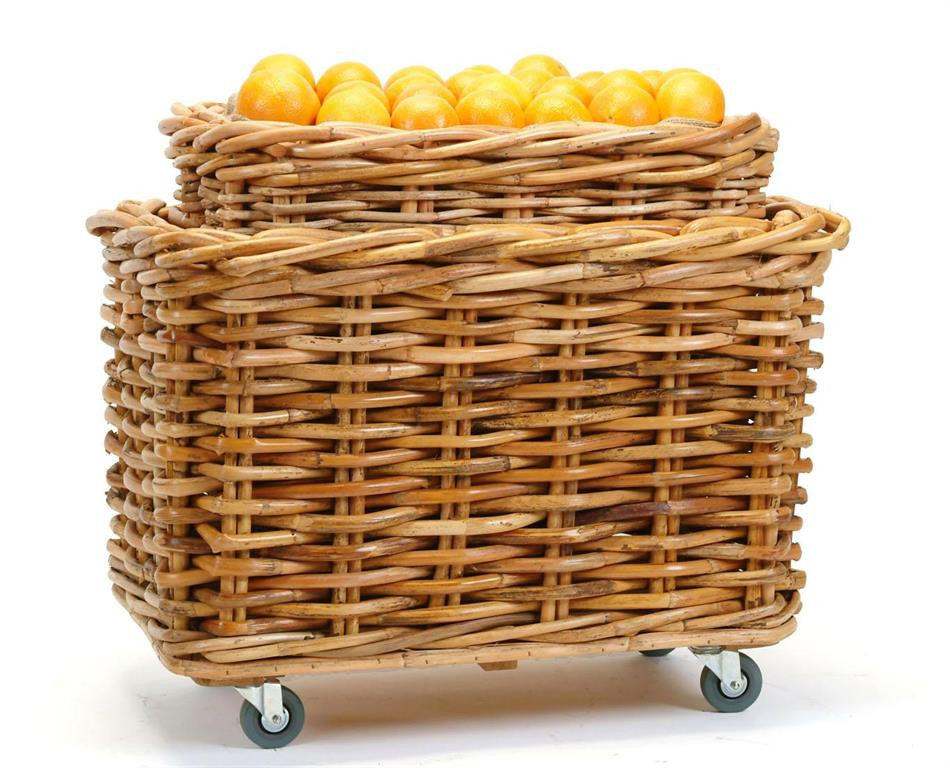 Natural Rectangular Basket on Wheels S/2, BBL-Bacon Basketware Limited, Putti Fine Furnishings