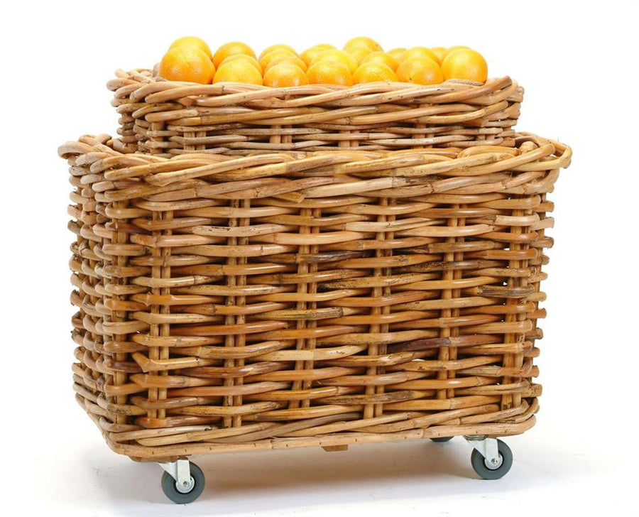 Natural Rectangular Basket on Wheels S/2
