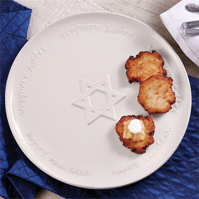 Hanukkah Round White Ceramic Platter | Putti Hanukkah Celebrations
