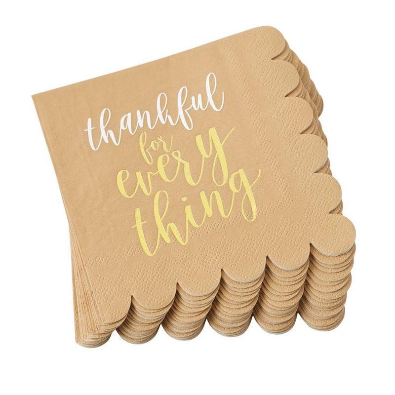 """Thankful for Everything"" Paper Cocktail Napkins"