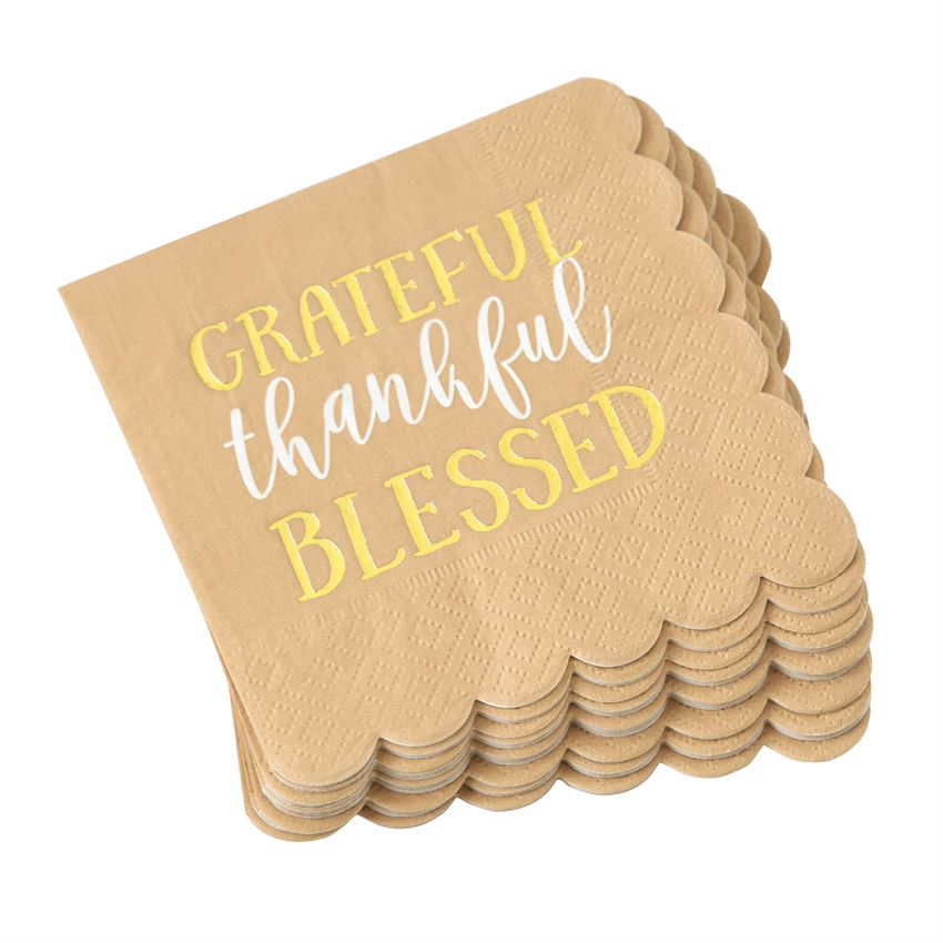 """Grateful thankful Blessed"" Paper Cocktail Napkins 