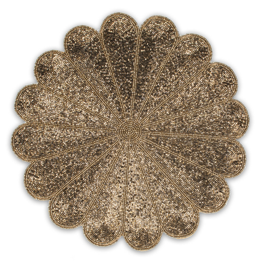 Beaded Flower Placemat - Gold -  Tableware - AC-Abbott Collection - Putti Fine Furnishings Toronto Canada