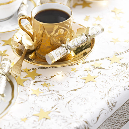 Party Porcelain Gold Paper Table Cover-Paper Tablecloth-TT-Talking Tables-Putti Fine Furnishings