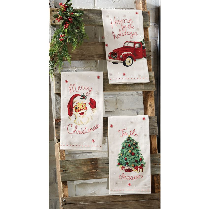 "Vintage Christmas ""Merry Christmas"" Hand Towel - Putti Celebrations"