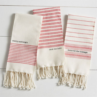 "Red and White ""merry and bright"" Christmas Turkish Towel"