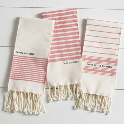 "Red and White ""deck the halls"" Christmas Turkish Towel 